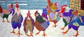 First Snow - Do chickens get cold feet? (10 3/4 x 12 1/2)